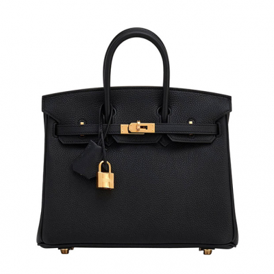BIRKIN 25CM BLACK TOGO BAG GOLD HARDWARE